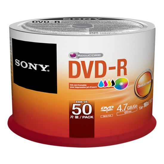 Immagine di Sony DVD-R 4,7 GB printable - Spindle 50 pezzi