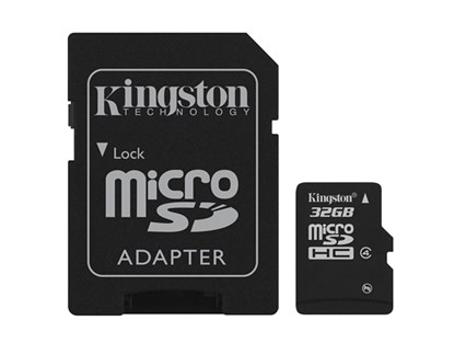 Immagine di Kingston Micro SDHC classe 4 con adattatore SD - 32GB