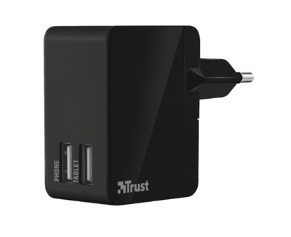 Immagine di Trust 19935 - 12W Travel Wall Charger with 2 USB ports - black