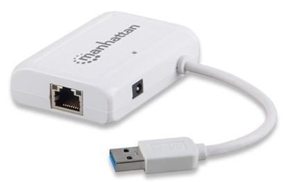 Immagine di Manhattan Adattatore Usb-Ethernet Gigabit + Hub 3 porte