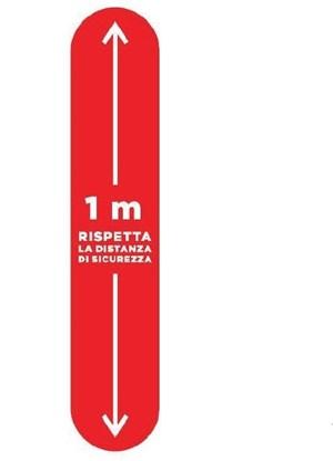 Immagine di ADESIVO INDICAZIONE 1 m. DISTANZA Calpestabile 100x20 rosso