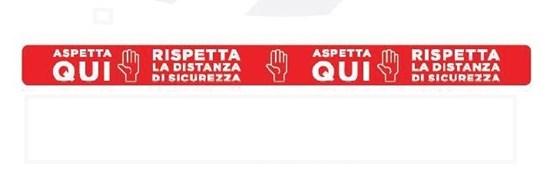 """Immagine di ADESIVO IN STRISCIA """"ASPETTA QUI"""" Calpestabile cm 100x8 rosso"""