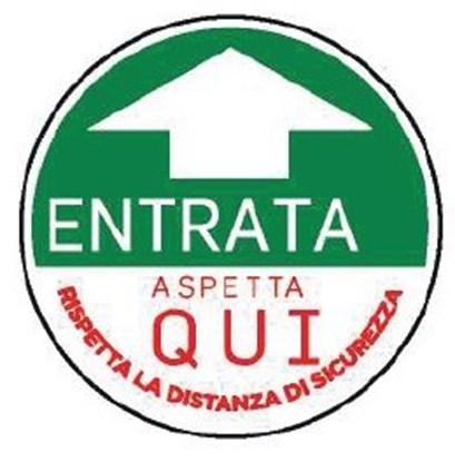 """Immagine di ADESIVO ROTONDO  """"ENTRATA"""" diametro 30cm verde"""