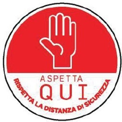 """Immagine di ADESIVO ROTONDO  """"ASPETTA QUI"""" diametro 30cm rosso"""